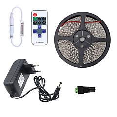 お買い得  LED ストリングライト-HKV 5m フレキシブルLEDライトストリップ 300 LED 3528 SMD 1 11キーリモコン / 1 x 2A電源アダプタ 温白色 / クールホワイト / レッド 防水 / カット可能 / 接続可 100-240 V