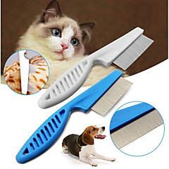 cheap Dog Supplies & Grooming-Pet Hair Grooming Comb Flea Shedding Brush Puppy Dog Stainless Pin Blue/White