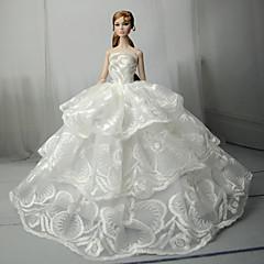 abordables Ropa para Barbies-Boda Vestidos por Muñeca Barbie  Tela de Encaje Satín Vestido por Chica de muñeca de juguete