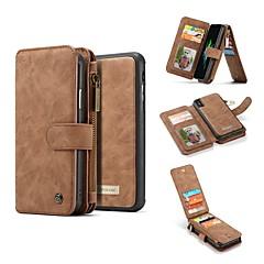 Недорогие Кейсы для iPhone 7 Plus-Кейс для Назначение Apple iPhone X Кошелек / Бумажник для карт / Защита от удара Чехол Однотонный Твердый Настоящая кожа для iPhone X / iPhone 8 Pluss / iPhone 8