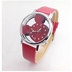 preiswerte Armbanduhren für Paare-Damen Paar Sportuhr Quartz Niedlich Armbanduhren für den Alltag Leder Band Analog Freizeit Zeichentrick Schwarz / Weiß / Rot - Rot Rosa Schwarz / Weiß