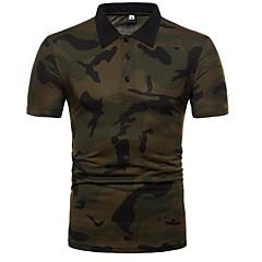 voordelige Herenpolo's-Heren Polo Kleurenblok / camouflage Overhemdkraag Slank / Korte mouw