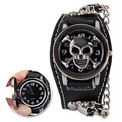 preiswerte Herrenuhren-Herrn Armbanduhr digital Armbanduhren für den Alltag Cool Stoff Band Analog Totenkopf Modisch Schwarz - Schwarz