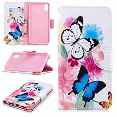 Недорогие Кейсы для iPhone 7-Кейс для Назначение Apple iPhone XR / iPhone XS Max Кошелек / Бумажник для карт / со стендом Чехол Бабочка Твердый Кожа PU для iPhone XS / iPhone XR / iPhone XS Max