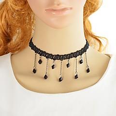 preiswerte Halsketten-Damen Synthetischer Turmalin Einzelkette Anhängerketten - Spitze Glücklich Einfach, Modisch lieblich Schwarz 36 cm Modische Halsketten Schmuck 1pc Für Party / Abend, Schultaschen