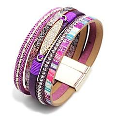preiswerte Armbänder-Damen Stilvoll Lederarmbänder Breites Armband - Kreativ Böhmische, Modisch Armbänder Braun / Blau / Rosa Für Karnival Geburtstag