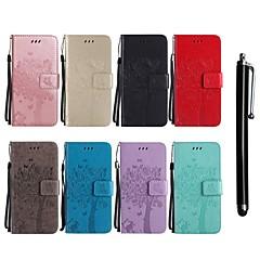 Недорогие Чехлы и кейсы для HTC-Кейс для Назначение HTC M9 / U11 Кошелек / Бумажник для карт / со стендом Чехол Кот / дерево Твердый Кожа PU для HTC U11 / HTC M8 / HTC M9