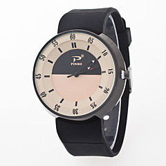 preiswerte Herrenuhren-Herrn Damen Armbanduhr Quartz Kreativ Armbanduhren für den Alltag Silikon Band Analog Modisch Mehrfarbig Schwarz / Weiß - Rosa Hellblau Leicht Grün