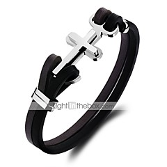 abordables Bijoux pour Femme-Homme Classique Bracelets en cuir Loom Bracelet - Acier au titane Croix Punk, Branché, Coréen Bracelet Noir Pour Quotidien Sortie