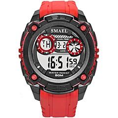 お買い得  メンズ腕時計-SMAEL 男性用 スポーツウォッチ 日本産 デジタル ブラック / レッド 50 m 耐水 カレンダー 夜光計 デジタル ファッション - ブラック Black / Red