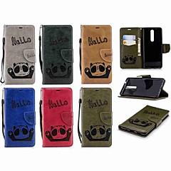 Недорогие Чехлы и кейсы для Nokia-Кейс для Назначение Nokia Nokia 5.1 / Nokia 3.1 Кошелек / Бумажник для карт / Флип Чехол Панда Твердый Кожа PU для Nokia 5 / Nokia 5.1 / Nokia 3