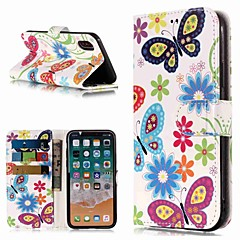 Недорогие Кейсы для iPhone 5-Кейс для Назначение Apple iPhone XR / iPhone XS Max Кошелек / Бумажник для карт / со стендом Чехол Бабочка Твердый Кожа PU для iPhone XS / iPhone XR / iPhone XS Max