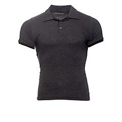 hesapli Erkek Polo Tişörtleri-Erkek Polo Zıt Renkli İş / Temel Siyah gri