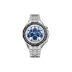 preiswerte Armbanduhren für Paare-Herrn Paar Kleideruhr Armbanduhr Quartz Armbanduhren für den Alltag Großes Ziffernblatt Edelstahl Band Analog Freizeit Modisch Silber - Blau Schwarz / Weiß Schwarz / Blau