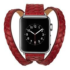 お買い得  腕時計用アクセサリー-カーフヘアー 時計バンド ストラップ のために Apple Watch Series 3 / 2 / 1 ブラック / ブルー / レッド 23センチメートル / 9インチ 2.1cm / 0.83 Inch