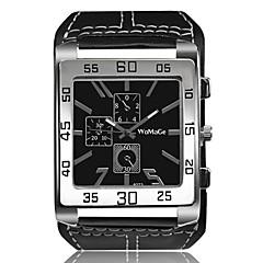 お買い得  メンズ腕時計-男性用 リストウォッチ クォーツ クリエイティブ カジュアルウォッチ クール レザー バンド ハンズ ヴィンテージ バングル ブラック / 白 / ブラウン - ホワイト ブラック Brown 1年間 電池寿命