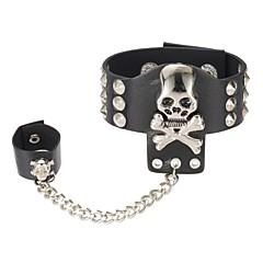 preiswerte Armbänder-Herrn Vintage Stil Gliederkette Ring-Armbänder - Leder Totenkopf Stilvoll, Retro, Punk Armbänder Schwarz Für Strasse Klub
