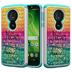 Недорогие Чехлы и кейсы для Motorola-Кейс для Назначение Motorola MOTO G6 / Moto G6 Play Защита от удара / Стразы / С узором Кейс на заднюю панель Слова / выражения / Стразы Твердый ПК для MOTO G6 / Moto G6 Play / Moto E5 Play