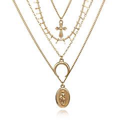 お買い得  ネックレス-女性用 レイヤード チョーカー  -  十字架, MOON 欧風, ファッション ゴールド 30 cm ネックレス ジュエリー 1個 用途 パーティー, カジュアル