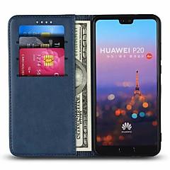 お買い得  Huawei Pシリーズケース/ カバー-ケース 用途 Huawei P20 Pro / P20 lite カードホルダー / スタンド付き フルボディーケース ソリッド ハード 本革 のために Huawei P20 / Huawei P20 Pro / Huawei P20 lite