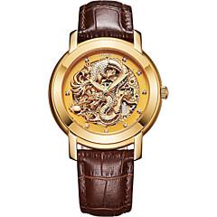 お買い得  メンズ腕時計-Angela Bos 男性用 機械式時計 自動巻き 本革 ベルト素材 ゴールド 30 m 耐水 透かし加工 カジュアルウォッチ ハンズ ヴィンテージ エレガント - ゴールド ホワイト ブラック 1年間 電池寿命