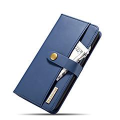 Недорогие Кейсы для iPhone-Кейс для Назначение Apple iPhone XR Кошелек / Бумажник для карт / со стендом Чехол Однотонный Твердый Настоящая кожа для iPhone XR