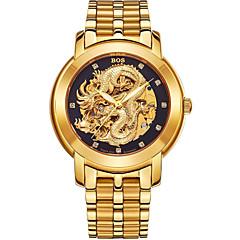 お買い得  メンズ腕時計-Angela Bos 男性用 機械式時計 自動巻き ゴールド 30 m 耐水 ハンズ ヴィンテージ カジュアル - ゴールド ホワイト ブラック 1年間 電池寿命