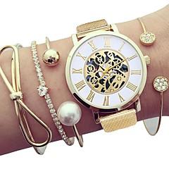 preiswerte Damenuhren-Damen Armbanduhr Quartz Chronograph Neues Design Armbanduhren für den Alltag Edelstahl Band Analog Modisch Skelett Silber / Gold - Gold Silber Ein Jahr Batterielebensdauer