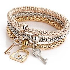 preiswerte Armbänder-Damen Mehrschichtig Armband mit Anhänger - Süß Armbänder Rotgold Für Zeremonie Party / 3 Stück