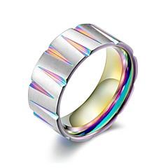 preiswerte Ringe-Herrn Kubanischer Link Bandring - Titanstahl Hip-Hop Schmuck Schwarz / Gelb / Regenbogen Für Geschenk Professionell 10 / 11 / 12
