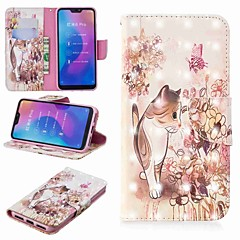 Недорогие Чехлы и кейсы для Xiaomi-Кейс для Назначение Xiaomi Xiaomi Pocophone F1 / Xiaomi Redmi 6 Pro Кошелек / Бумажник для карт / со стендом Чехол Кот Твердый Кожа PU для Redmi Note 5A / Xiaomi Redmi Note 5 Pro / Xiaomi Redmi Note 6