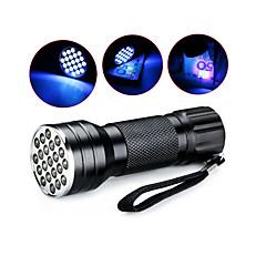 preiswerte Taschenlampen-D12UV-1-0-2 LED Taschenlampen Taschenlampen mit Schwarzlicht Hand Taschenlampen LED 5mm Lampe 21 Sender 1 Beleuchtungsmodus Wasserfest, Ultraviolettes Licht Camping / Wandern / Erkundungen, Für den