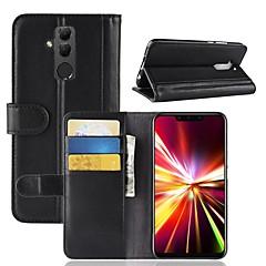 Недорогие Чехлы и кейсы для Huawei Mate-Кейс для Назначение Huawei Huawei Mate 20 Lite / Huawei Mate 20 Кошелек / Бумажник для карт / Флип Чехол Однотонный Твердый Настоящая кожа для Mate 10 / Mate 10 pro / Mate 10 lite
