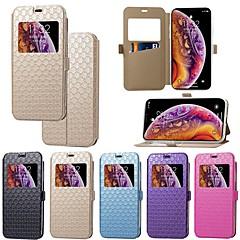 Недорогие Кейсы для iPhone 7-Кейс для Назначение Apple iPhone XR / iPhone XS Max Бумажник для карт / со стендом / Флип Чехол Однотонный / Плитка Твердый Кожа PU для iPhone XS / iPhone XR / iPhone XS Max
