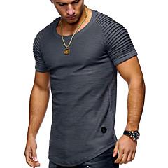 hesapli Erkek Üst Giyim-Erkek Yuvarlak Yaka Tişört Solid Temel / Kısa Kollu