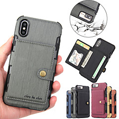 Недорогие Кейсы для iPhone-Кейс для Назначение Apple iPhone XR / iPhone XS Max Бумажник для карт / Магнитный Кейс на заднюю панель Однотонный Твердый Кожа PU для iPhone XS / iPhone XR / iPhone XS Max