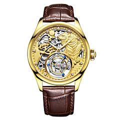 お買い得  メンズ腕時計-Angela Bos 男性用 機械式時計 手巻き式 耐水 透かし加工 クリエイティブ 本革 バンド ハンズ ぜいたく ファッション ブラック / ブラウン - ゴールド シルバー ローズゴールド / ステンレス