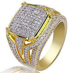 baratos Anéis-Homens Zircônia Cubica Clássico Anel - Estiloso, Luxo 7 / 8 / 9 / 10 / 11 Dourado Para Festa Presente
