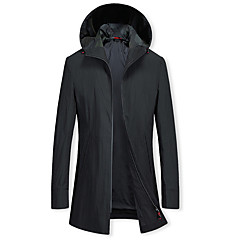 cheap Men's Trench Coat-Men's Daily Long Trench Coat, Solid Colored Hooded Long Sleeve Polyester Black XL / XXL / XXXL