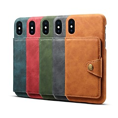 abordables Novedades-Funda Para Apple iPhone 8 / iPhone XR / iPhone XS Max Cartera / Soporte de Coche / Antigolpes Funda Trasera Un Color Dura Cuero de PU para iPhone XS / iPhone XR / iPhone XS Max
