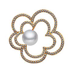 お買い得  ブローチ-女性用 キュービックジルコニア ブローチ  -  真珠, ゴールドメッキ フラワー 韓国語 ブローチ ゴールド 用途 ストリート