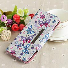 Недорогие Кейсы для iPhone-Кейс для Назначение Apple iPhone 7 Plus Кошелек / Бумажник для карт / Флип Кейс на заднюю панель Бабочка Твердый Кожа PU для iPhone 7 Plus
