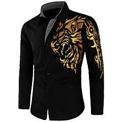 Недорогие Мужские рубашки-Муж. Рубашка Тонкие Уличный стиль Графика / Длинный рукав