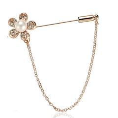 お買い得  ブローチ-女性用 3D ブローチ  -  人造真珠 フラワー スタイリッシュ, シンプル ブローチ ゴールド 用途 日常
