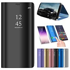 お買い得  Samsung その他の機種用ケース/カバー-ケース 用途 Samsung Galaxy J6 / J4 スタンド付き / メッキ仕上げ / ミラー フルボディーケース ソリッド ハード PUレザー のために On7(2016) / On5(2016) / J8 (2018)