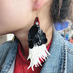 preiswerte Ohrringe-Damen Quaste Tropfen-Ohrringe - Feder Ethnisch, Boho, überdimensional Schwarz / weiss Für Party Karnival