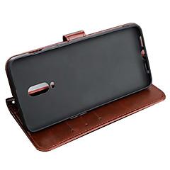 お買い得  その他のケース-ASLING ケース 用途 OnePlus One Plus 6T ウォレット / カードホルダー / スタンド付き フルボディーケース ソリッド ソフト PUレザー のために One Plus 6T
