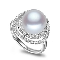 cheap Beads & Jewelry Making-Freshwater Pearl Classic Adjustable Ring - Pearl, Zircon, S925 Sterling Silver Lucky Glam, Classic & Timeless, Fashion White / Pink For Party Event / Party Women's