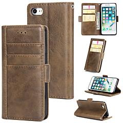 Недорогие Кейсы для iPhone-Кейс для Назначение Apple iPhone 7 Кошелек / Бумажник для карт / Флип Кейс на заднюю панель Однотонный Твердый Кожа PU для iPhone 7