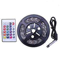 abordables Sets de Luces-2m Sets de Luces 60 LED SMD5050 1 Controlador remoto de 24 teclas RGB Impermeable / Cortable / USB 5 V 1 juego
